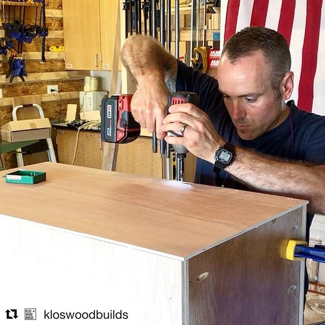 Just a little splash of green for your Monday morning!  #Repost @kloswoodbuilds ・・・ Putting on the back of the drill press cabinet using @titebondproducts Quick & Thick, and @spax_usa screws. No way this thing's shifting. 👊🏼 . . . . . . . #woodworkingcommunity #woodworking #maker #woodworker #woodworkersofig #woodshop #buildstuff #garageshop #handmade #cabinetry #drillpressstand #shopfurniture  #drillpress