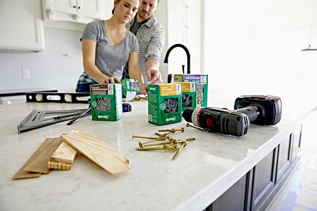 Couples that build together... are as strong as our engineered fasteners 💪 • • • • • #spaxfactor #remodeling #renovation #worktogether #diyers #construction #homeprojects #building #kitchenremodel #cabinetry #cabinetinstall