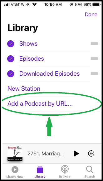 Click on 'Add a Podcast by URL…'