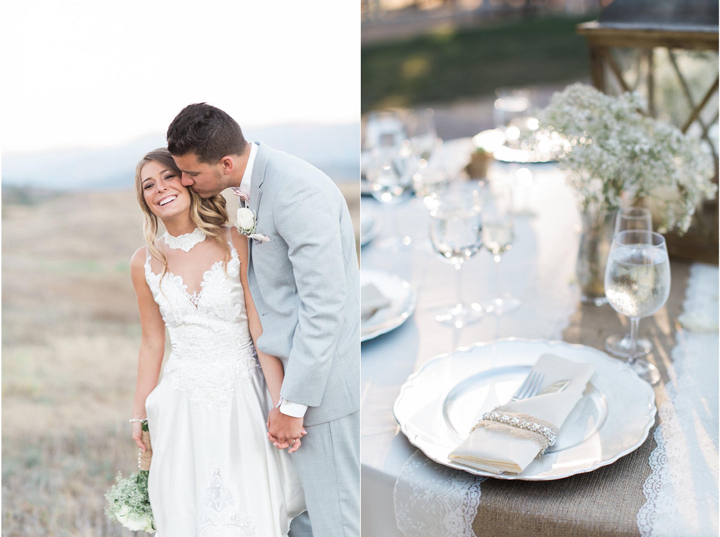 Amelia & Tim:  Venue- Lake Oak Meadows, Temecula, Ca; Photography- Lauriana Fortuna; Decor & Rentals- Farm Girl Weddings; Wedding Gown Redesign- Cherie Riley Weddings