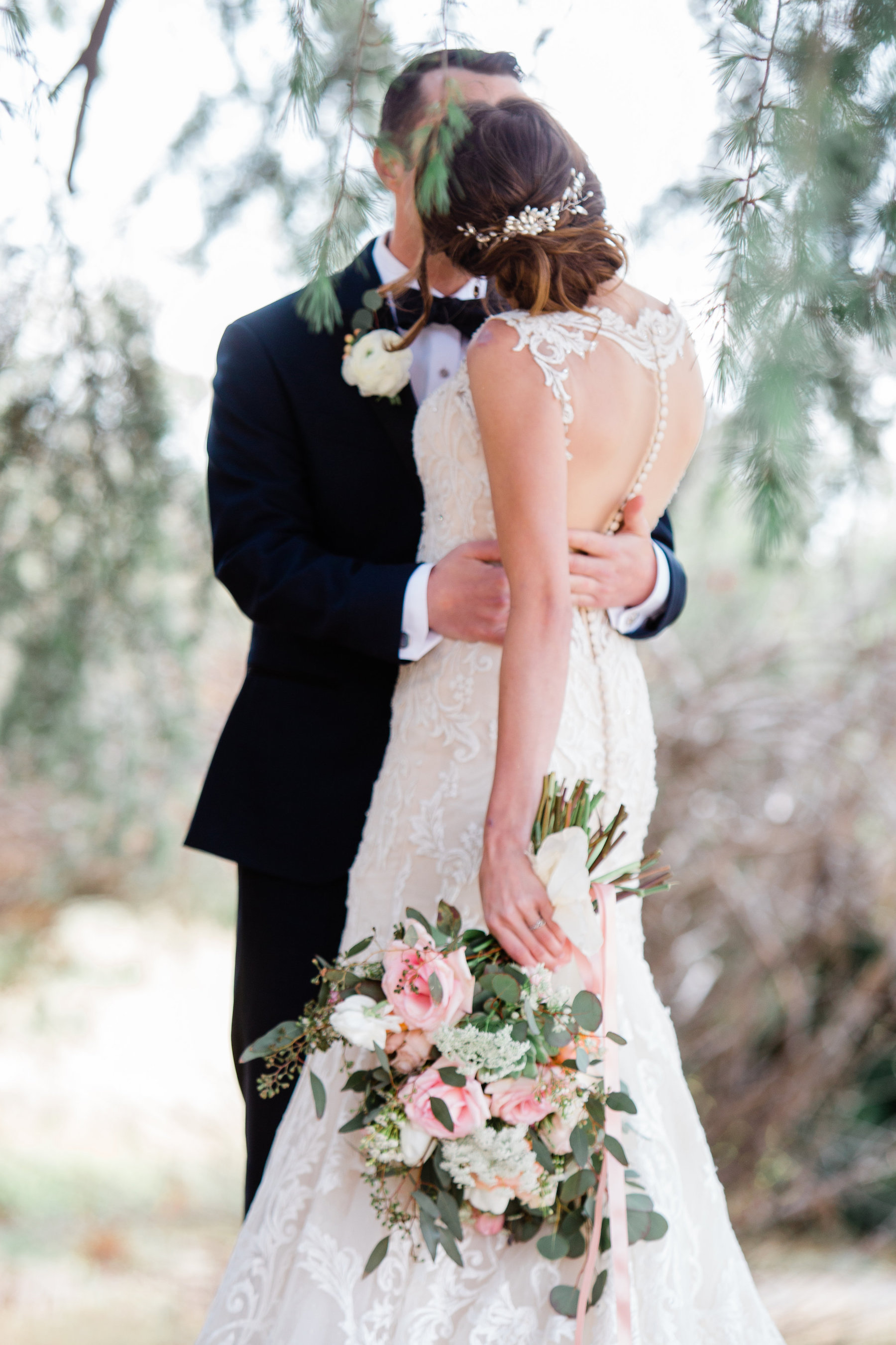 Venue- Highland Springs Ranch & Inn, Cherry Valley, CA; Photography- Lauriana Fortuana; Florals, The Nature of Things; Dress Redesign- Cherie Riley; Hair & Makeup- Cori Stephenson; Q The Music DJ, Video- Scott Davis