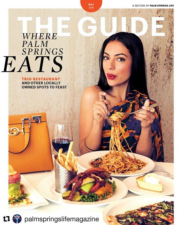 """#Repost @palmspringslifemagazine ・・・ Pick up the latest issue of """"The Guide"""" and you'll know where to EAT, SHOP, and EXPLORE like a Greater Palm Springs local 🙌🏽✨  May cover featuring actress @inanna earing @gucci and dining at local hot spot @palmspringstrio   📸 @gaborjurina #magazine @palmspringslifemagazine  #fashioneditor @amylustyle  #beauty @annieingmakeup #producer @cactusandfog  @platformprteam @platformgirl @creative.management   Visit PalmSpringsLife.com to check out this month's edition of The Guide #linkinbio        #palmspringslife #psltheguide #travelandliving #liveauthentic #wanderlust #happyhour #dine #exploremore #mustdo #musthave #getaway #palmsprings #weekendvibes"""