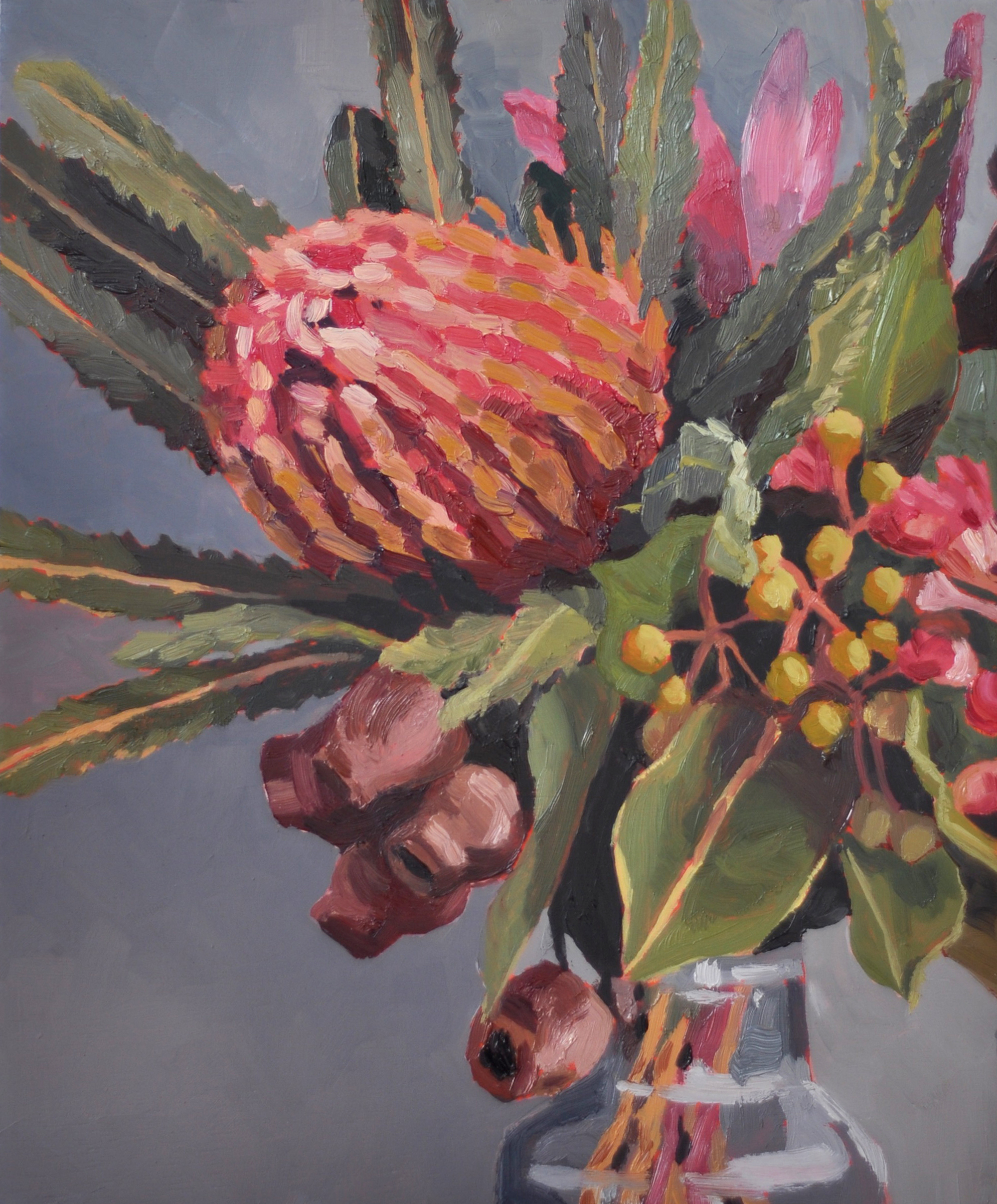 Banksia and Gum nuts oil painting by Emma Fuss