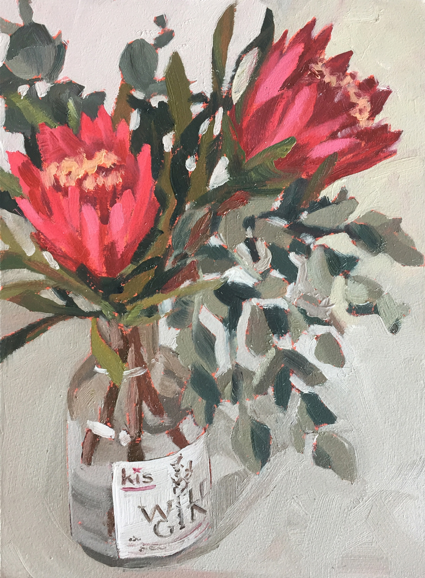 Protea repens, wild gin - oil painting by Emma Fuss