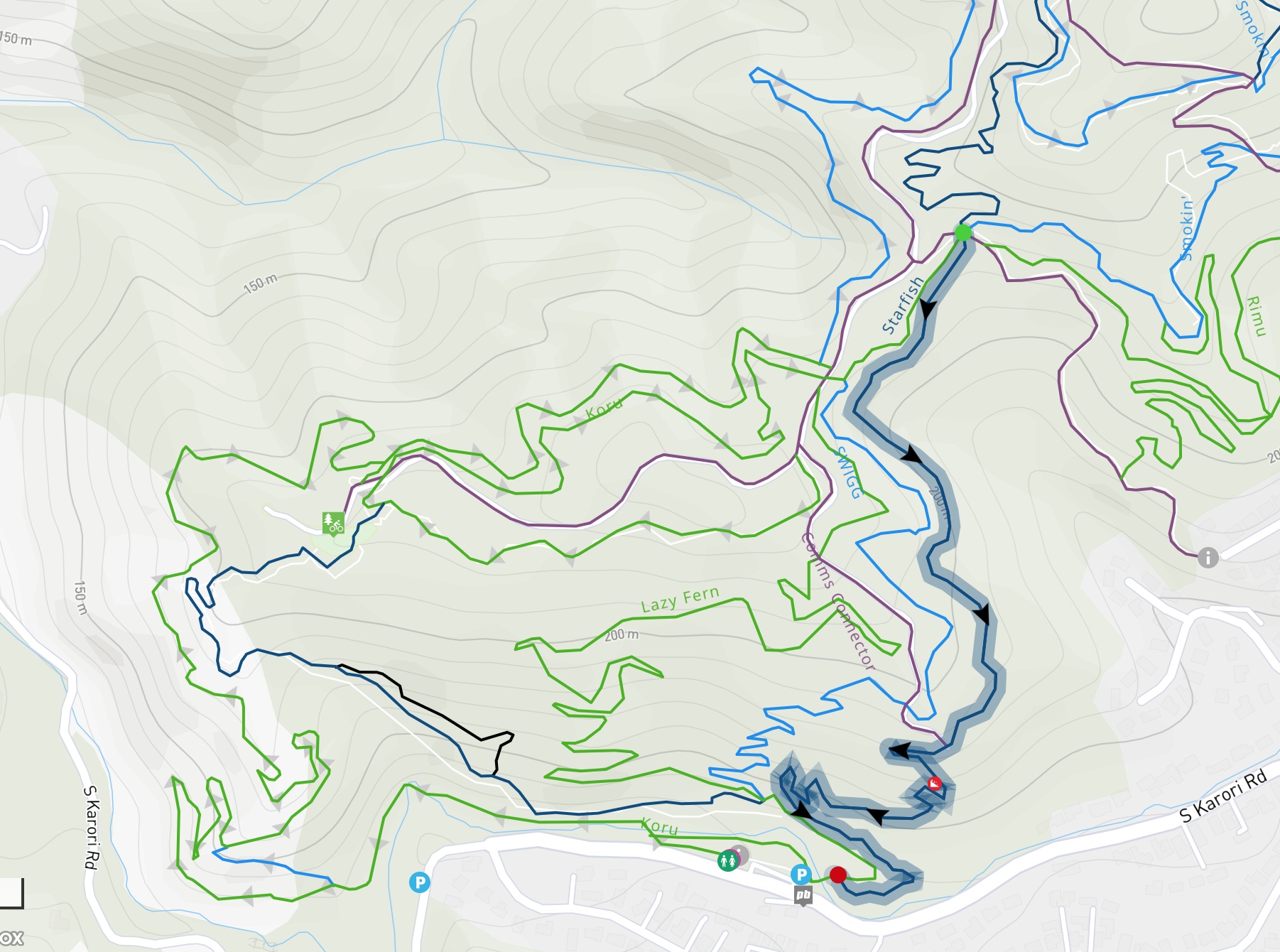 Trailforks map showing Starfish line