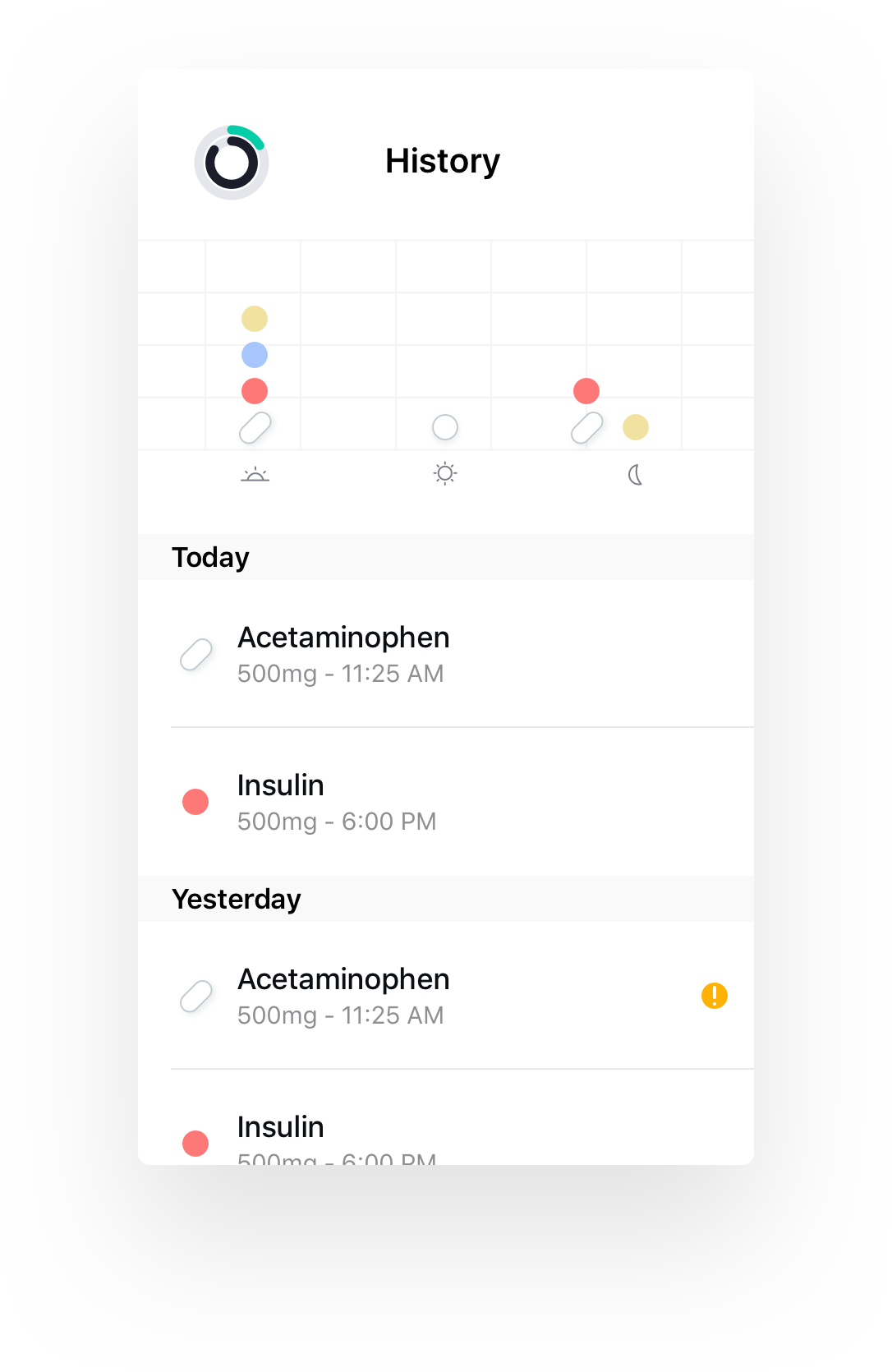 Your medication history, spelled out - Mineral continues the tradition of the 'digital pillbox' - mapping prescription plans with a visual interface.Missed medications can be tracked and reviewed, and physicians can provide medication context as needed.
