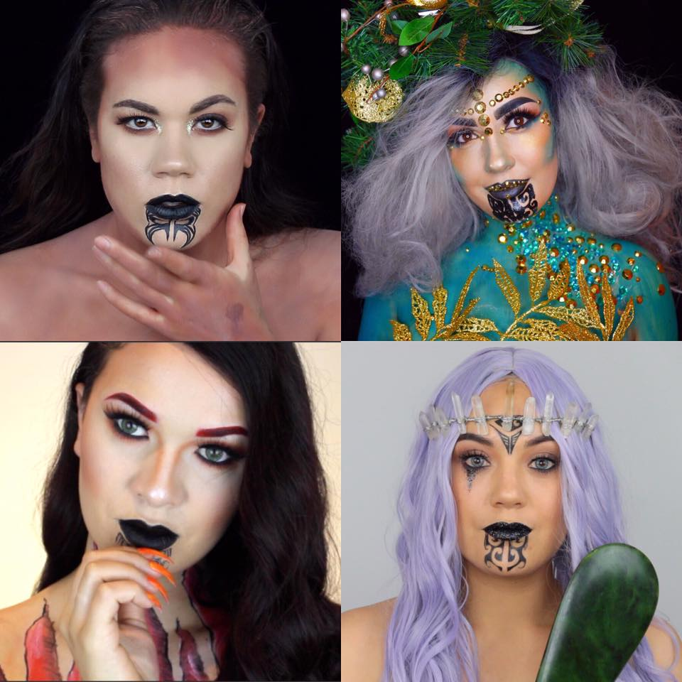 Māori goddess inspired make up collaboration - Miria Flavell (top left), Summer Brons (top right), Queenie (bottom left), Rhi Kaipo (bottom right)