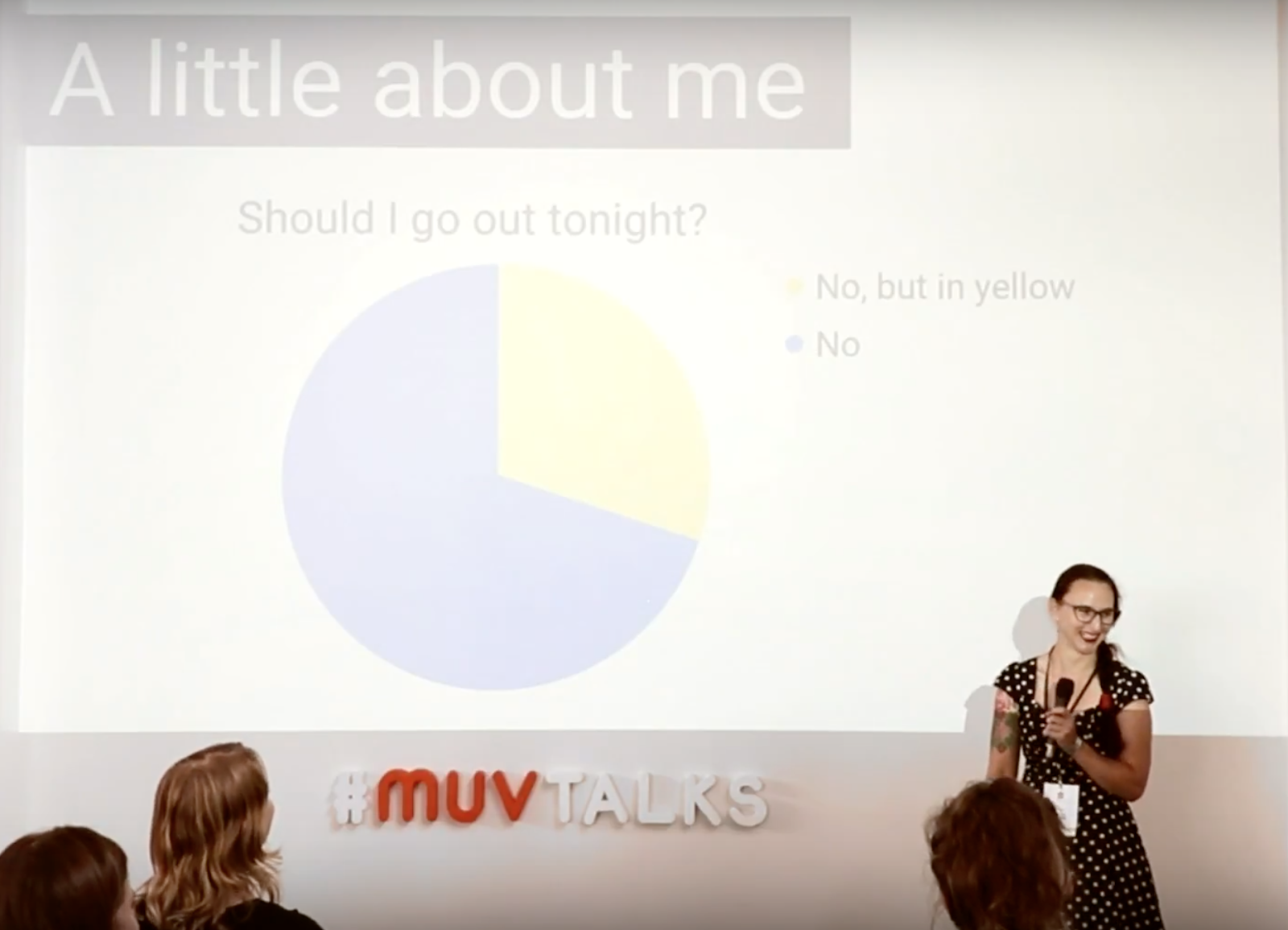 """Tanya giving a presentation at the MUV talks. Pie chart answers the questions """"Should I go out tonight?"""" and the answers are: """"No"""" and """"No, but in yellow"""""""