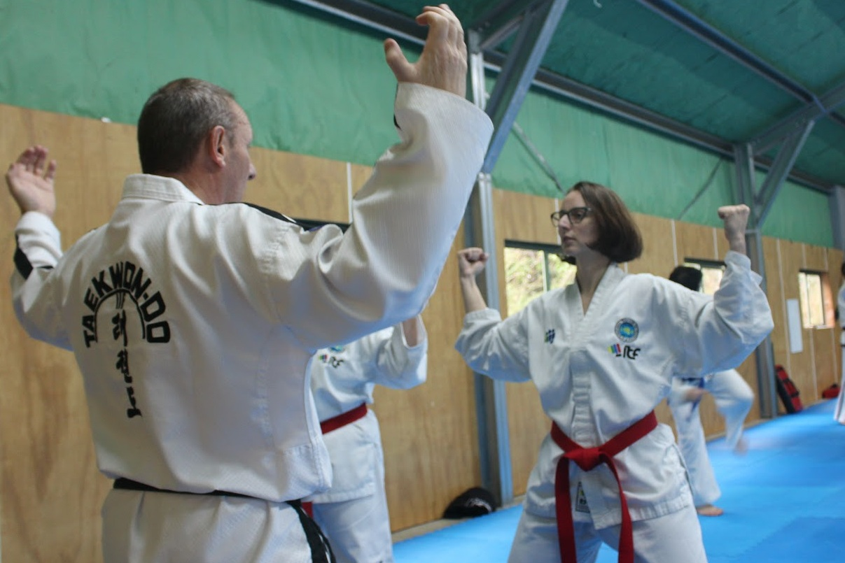 Tanya doing Taekwondo