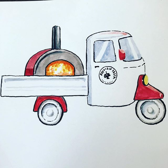 Check out this amazing illustration from @jollyjiajia of our lil 🍕 truck! Taking her out for a spin tomorrow afternoon from 4-9 at @speakeasybeer. #pastatothepeople #carbsoncarbs #grains