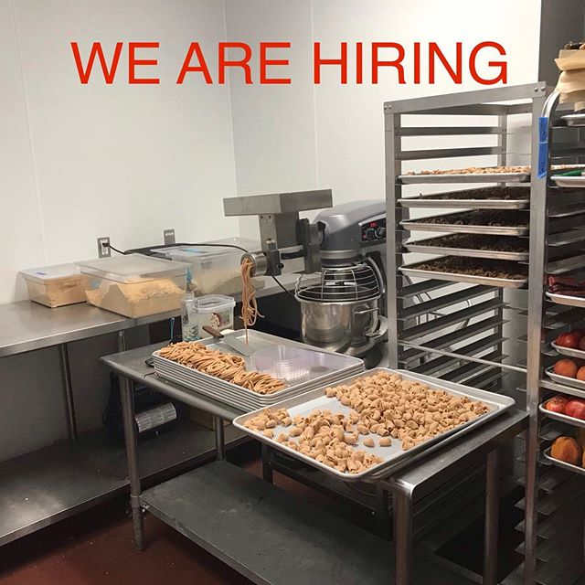 We just can't keep up with production these days and could use some help! We also have room for internships for any young (can be young at heart) ambitious pastafarians. Let's make America gluten again!!!