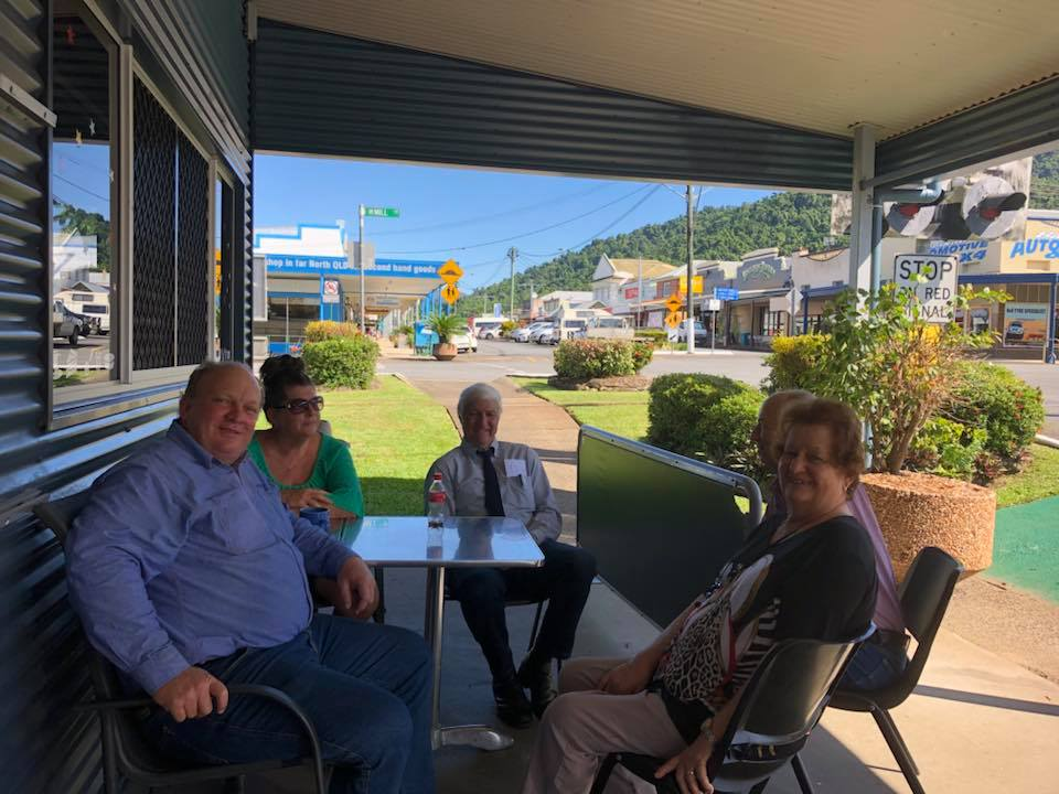 Shane Knuth MP with Bob Katter MP catching up with locals Trish Kruckow and Angle and Irene Mustafa at the delicious Babinda Independent Bakery.