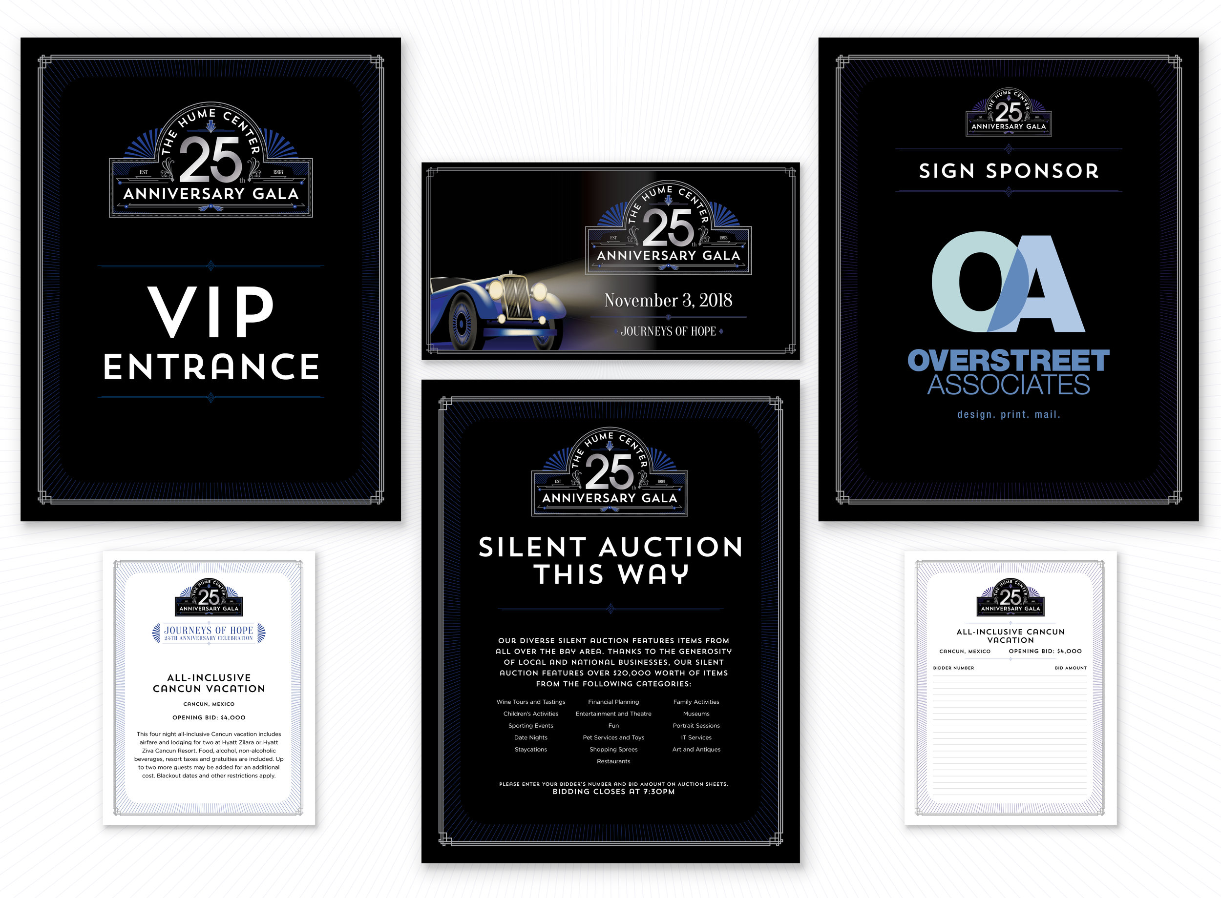 A few of many assets created for the event.   VIP Entrance / Silent Auction Collateral / Facebook Event Cover Image / Sponsor Signs