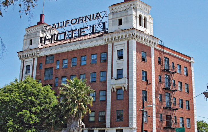 The Historic California Hotel at 35th and San Pablo Avenue. Built in 1930 originally as a hotel, the California Hotel now provides 137 units of affordable housing.
