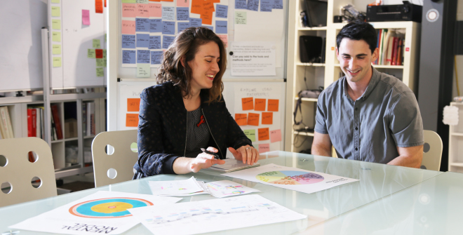 Eloise King-Smith and Jed Austin exploring insights from design research