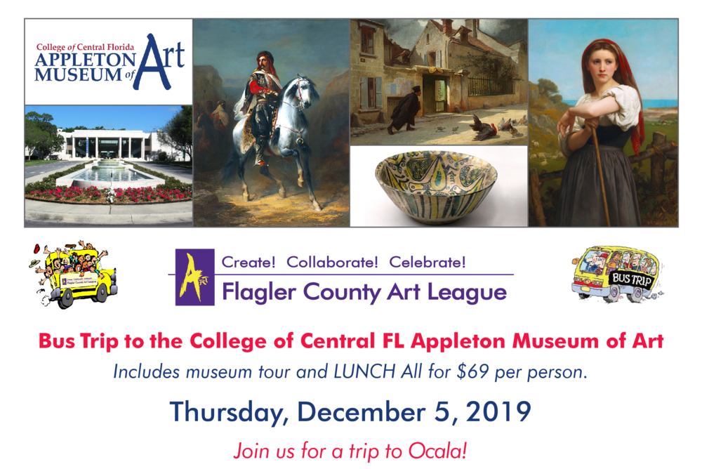 Join Us on Our Bus trip - Join us for our upcoming bus trip to the Appleton Museum of Art in Ocala, FL in the month of December.