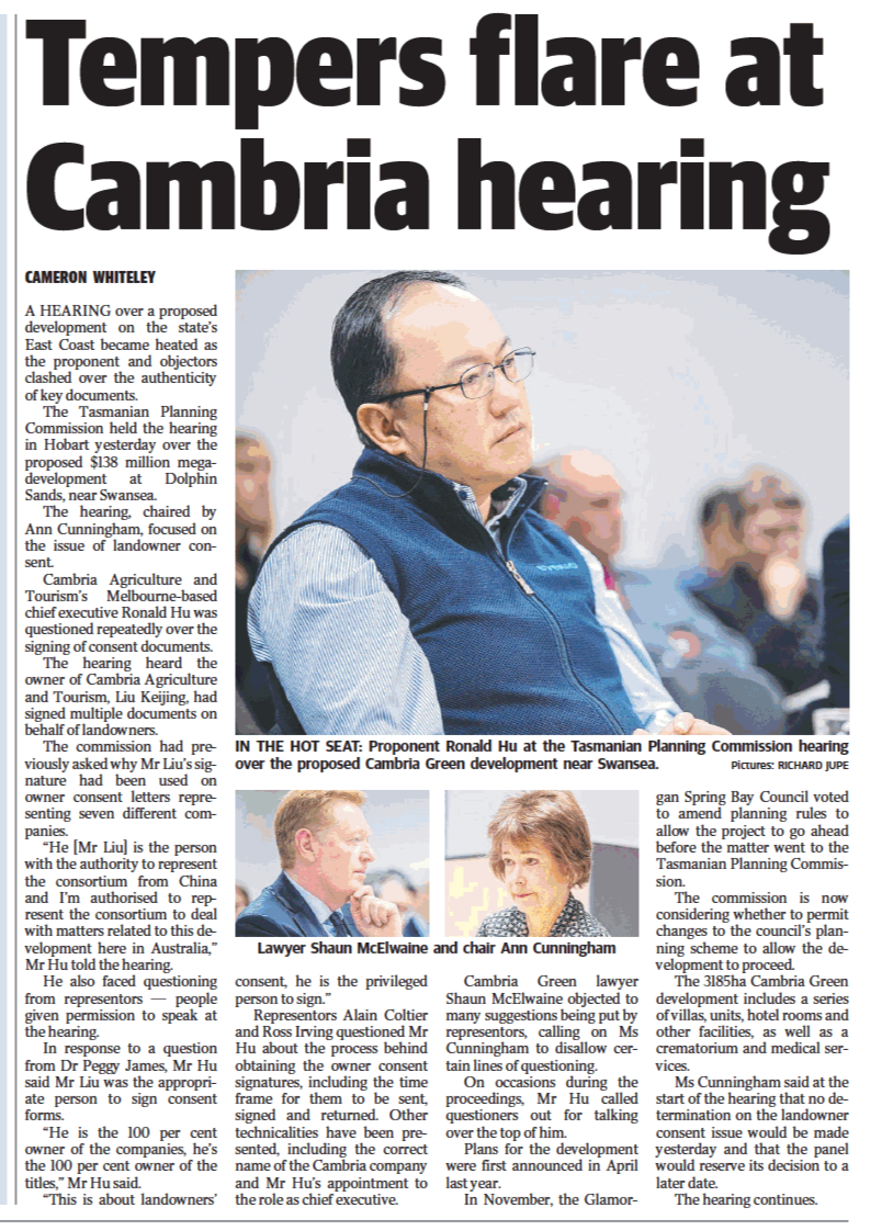 PNG The Mercury 31 August 2019 Tempers flare at Cambria hearing.png
