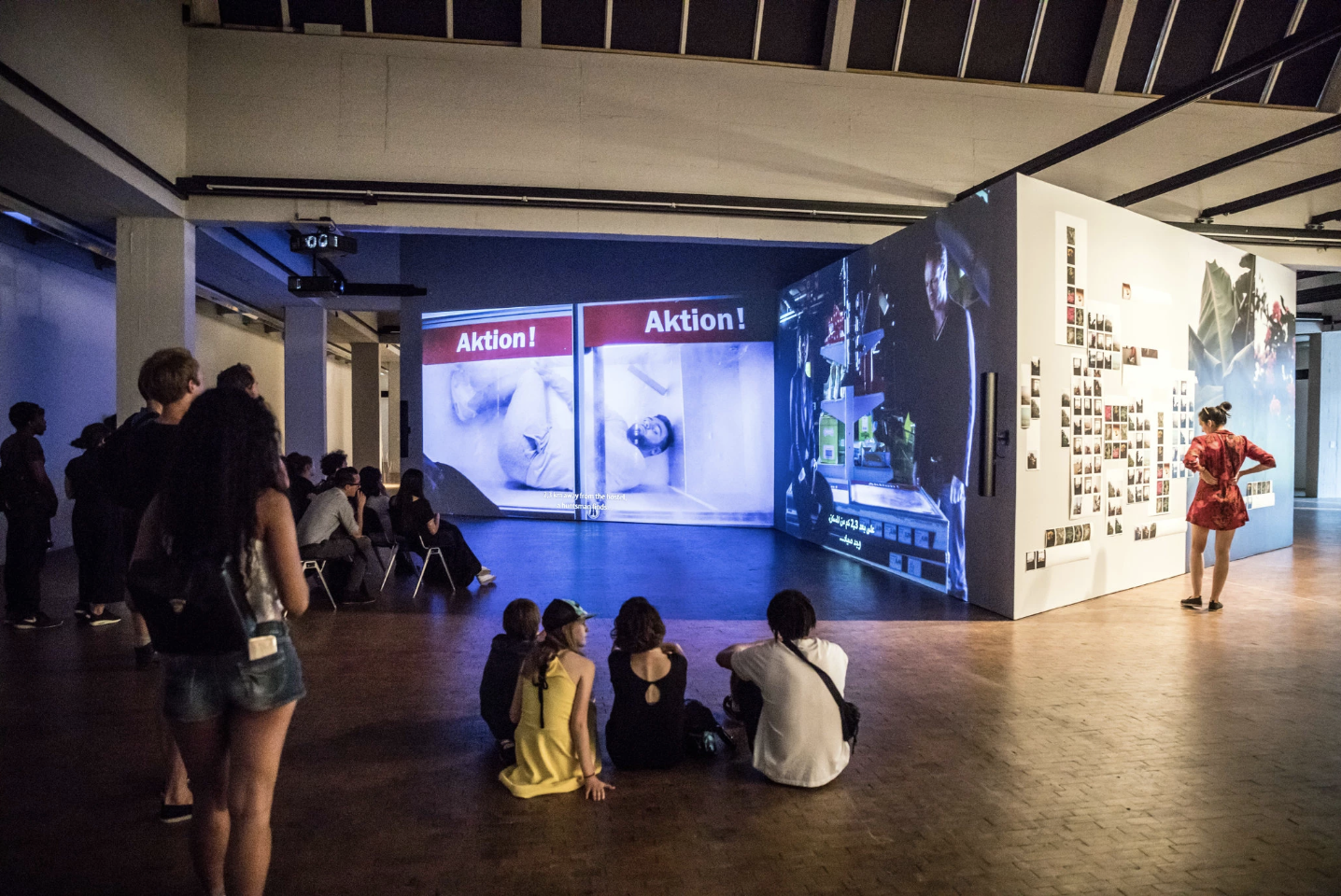 """The German artist Mario Pfeifer's video installation """"Again"""" casts a bitter eye on Germany's refugee crisis.CreditGordon Welters for The New York Times"""