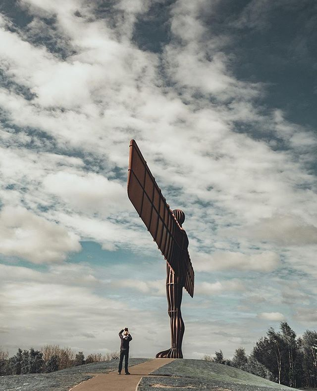 Finally visited this rusty lass after driving past her for like 5 years. ⠀ ⠀ ⠀ ⠀ It was underwhelming. ⠀ ⠀ ⠀ ⠀ Human for scale!!!⠀ ⠀ #lumixgx80 #angelofthenorth #microfournerds