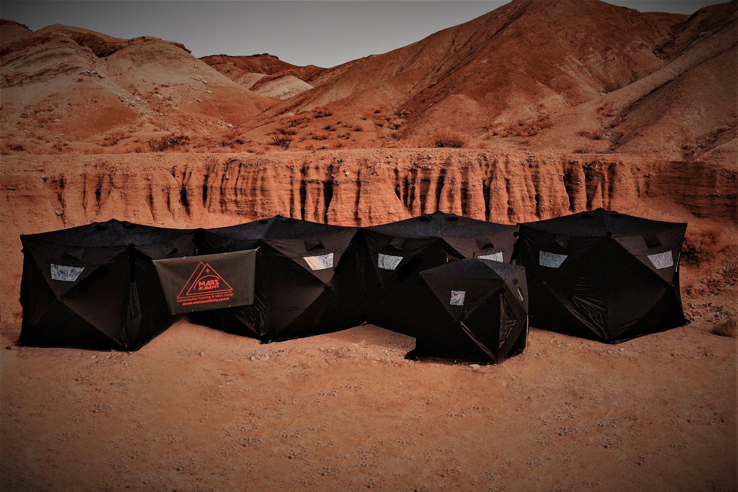 Section of the MAU Mars Basecamp in dueing an analog astroanut training mission in the isolated Mojave Desert, CA