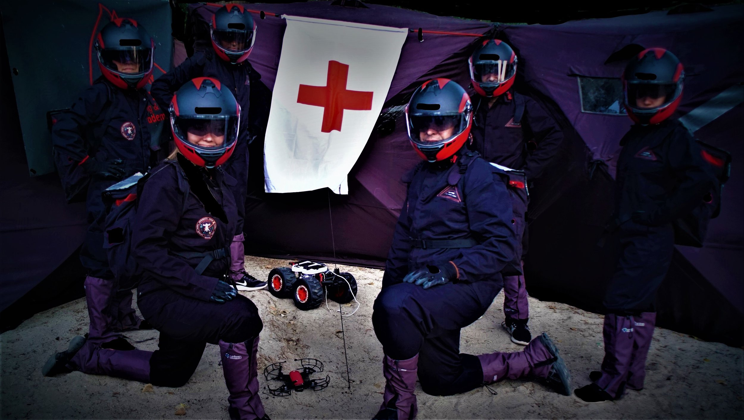 Mars Medics Analog Astronauts outside the Mars Space Clinic during a Medical Extra-Vehicular Activity, MEVA.