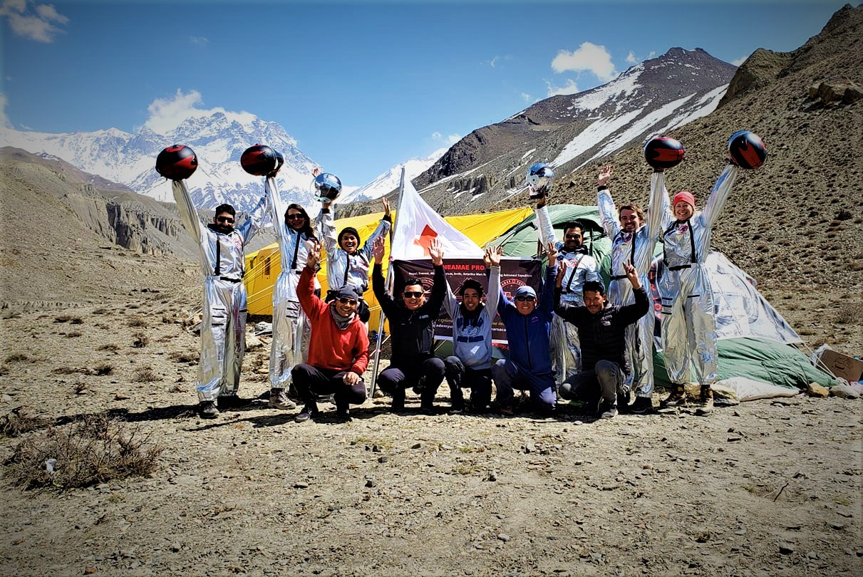 Credit: Biggs/MAU. Analog Astronauts MAU-NEPAL Crew 001 with Onsite Basecamp Support Teams after exiting the mission