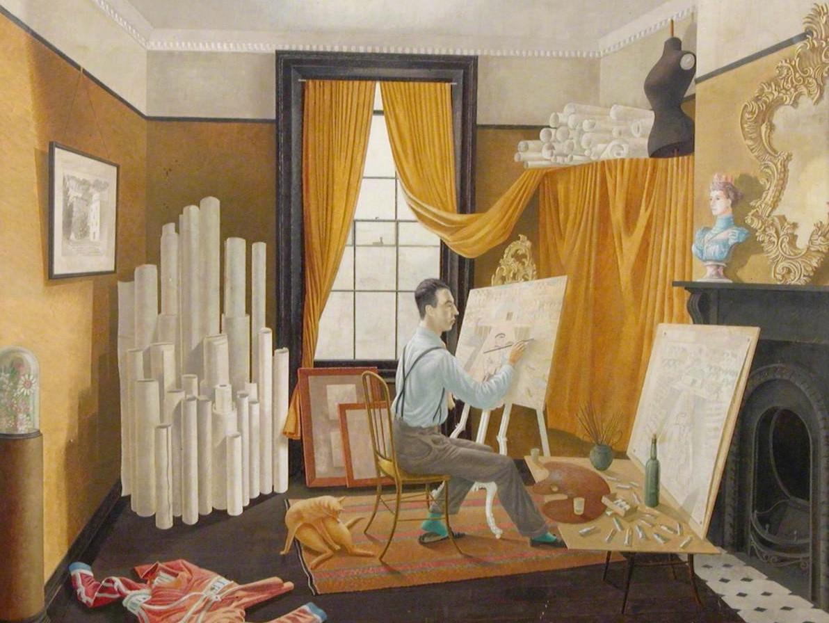 Edward Bawden Working in His Studio