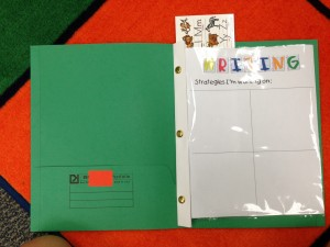 Clear pocket with writing strategies sheet