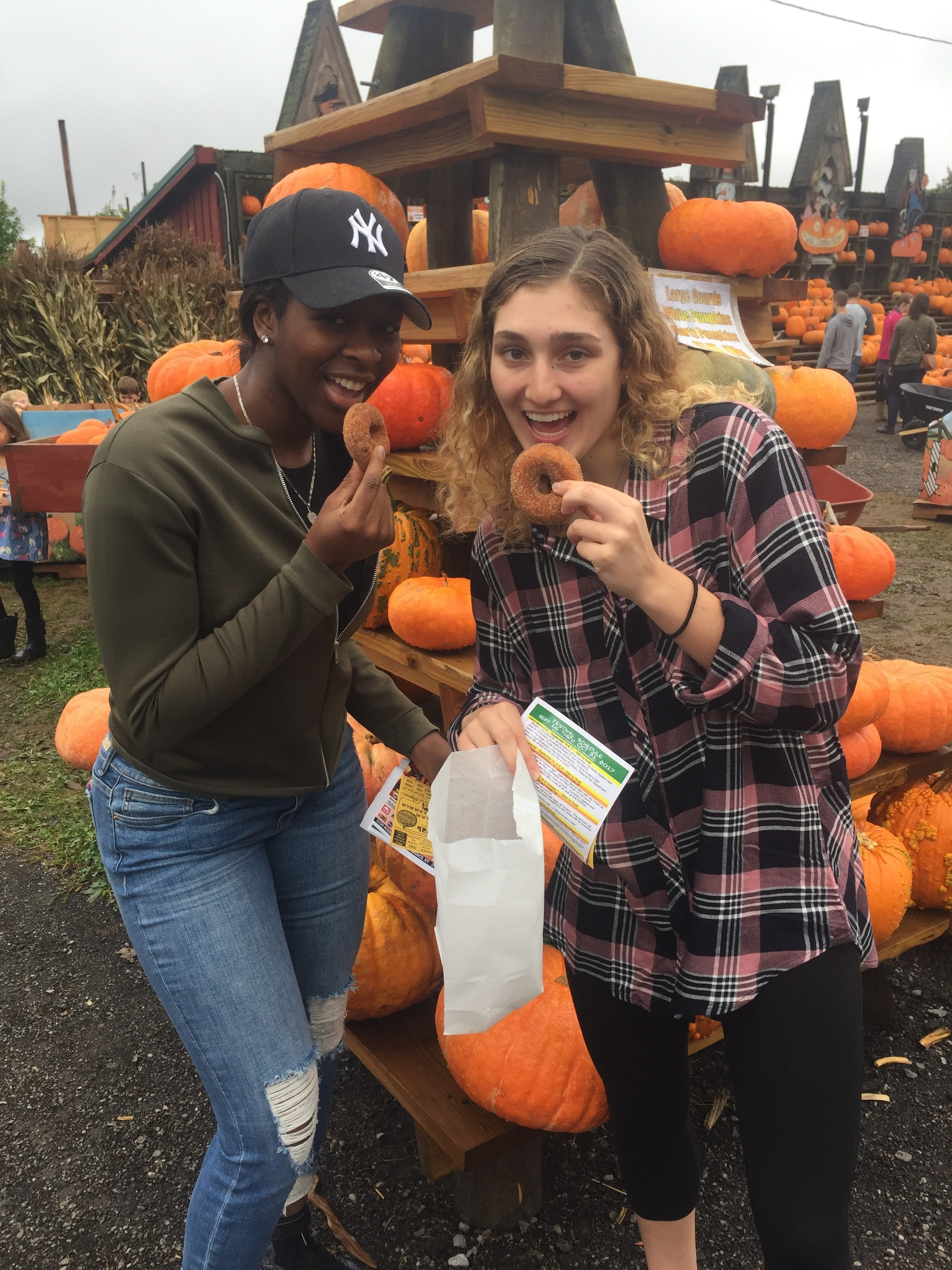 My teammate and I at the Great Pumpkin Farm in Clarence last fall.