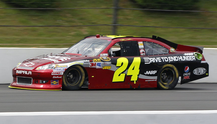 #24-725 - Hendrick Motorsports Chassis #24-725 is a Chevrolet Impala raced by Jeff Gordon twice in 2012. Gordon's victory at Pocono Raceway in this car was his sixth win at the track, which is the NASCAR Cup Series record for most victories at Pocono.