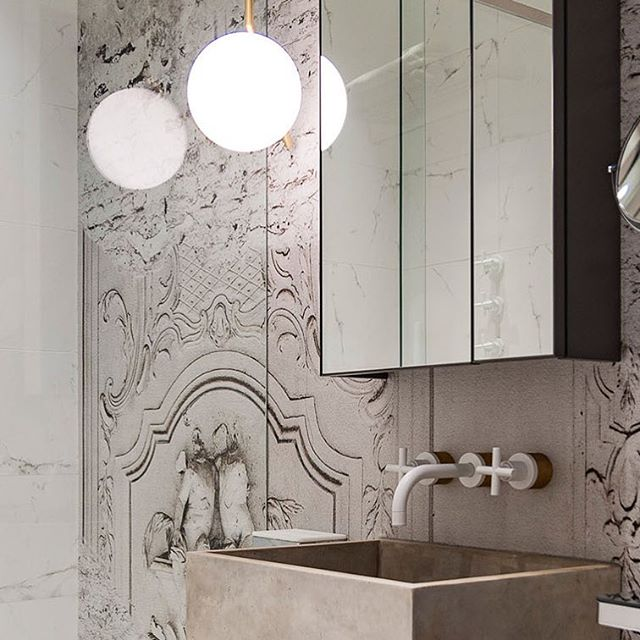 Beautiful Mural Bathroom Wall! • • • #interiordesign #creative #decor #bathroom #concrete #sinc #flos #ceiling #light #mirror #iam #interiordesigner #london #livingmydream #inspiration #pastichestyle #art #timeless #design #19thcentury #building #apartment #element #contemporary #old #new
