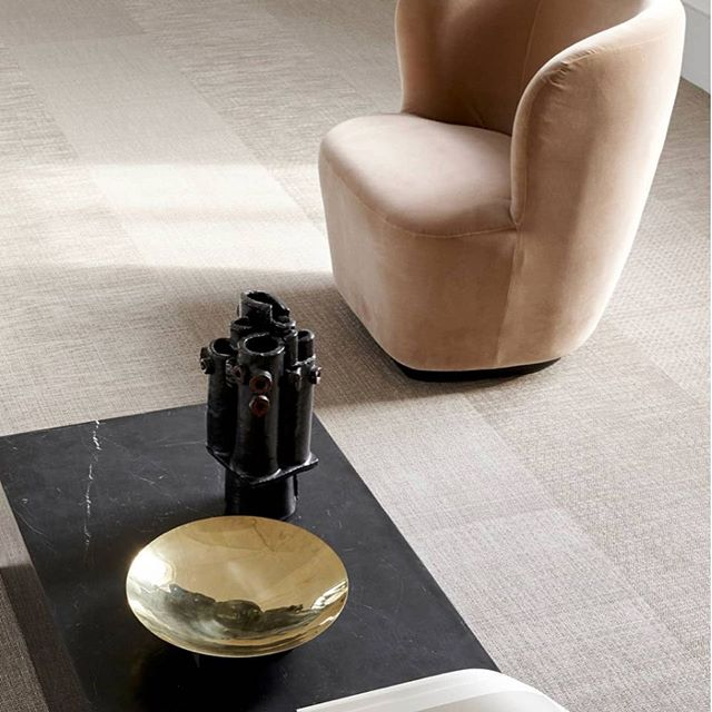 Muted Velvet Lounge Chair by @gubiofficial Love how the Soft Curves Contrast the Straight Lined Black Marble Table.