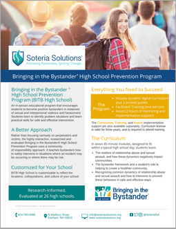 Download theBringing in the Bystander High School Prevention Program data sheet -
