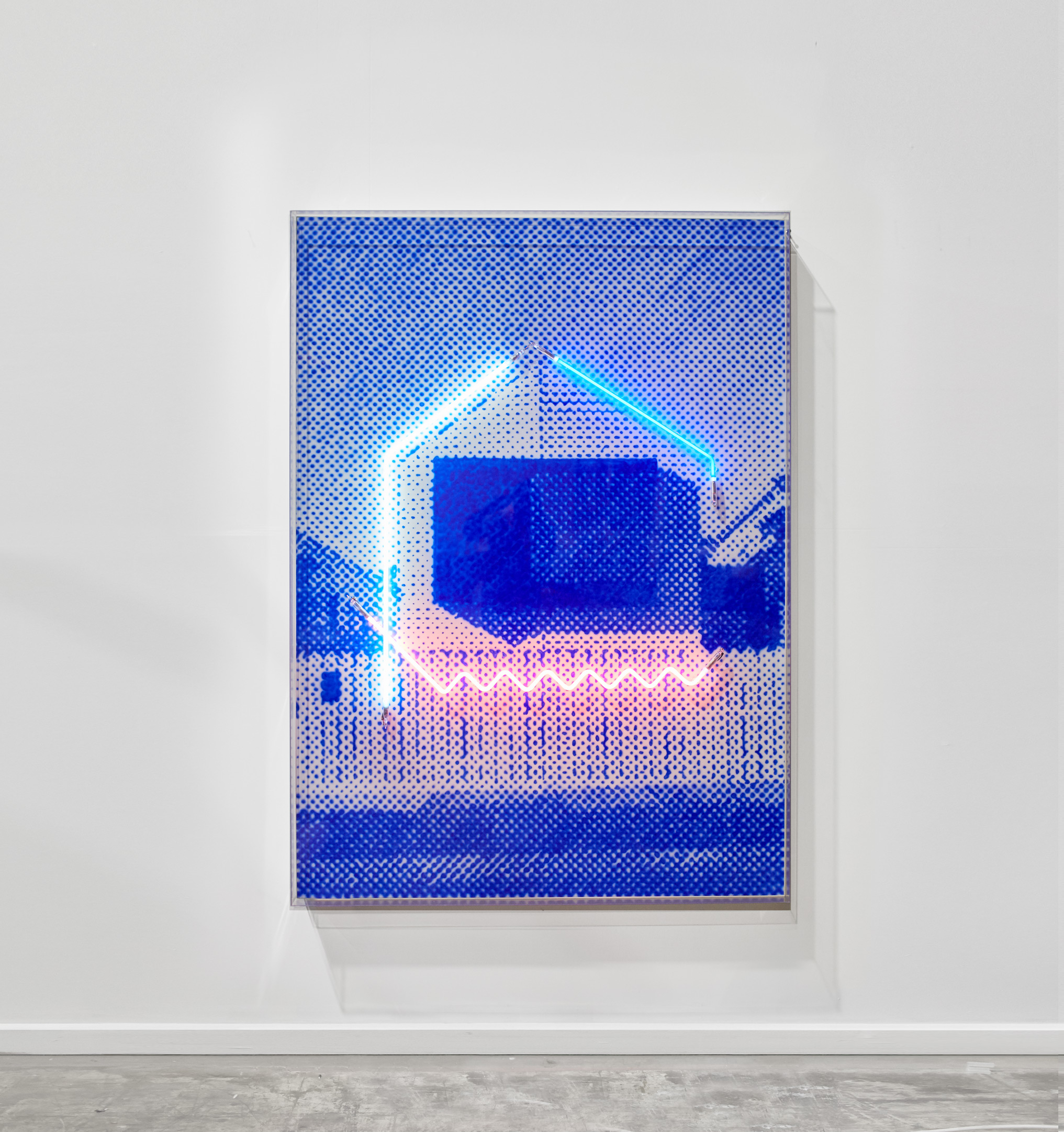 Picture perfect with a white picket fence  Airbrush acrylic polymer and neon on dibond, acrylic frame 115x160cm