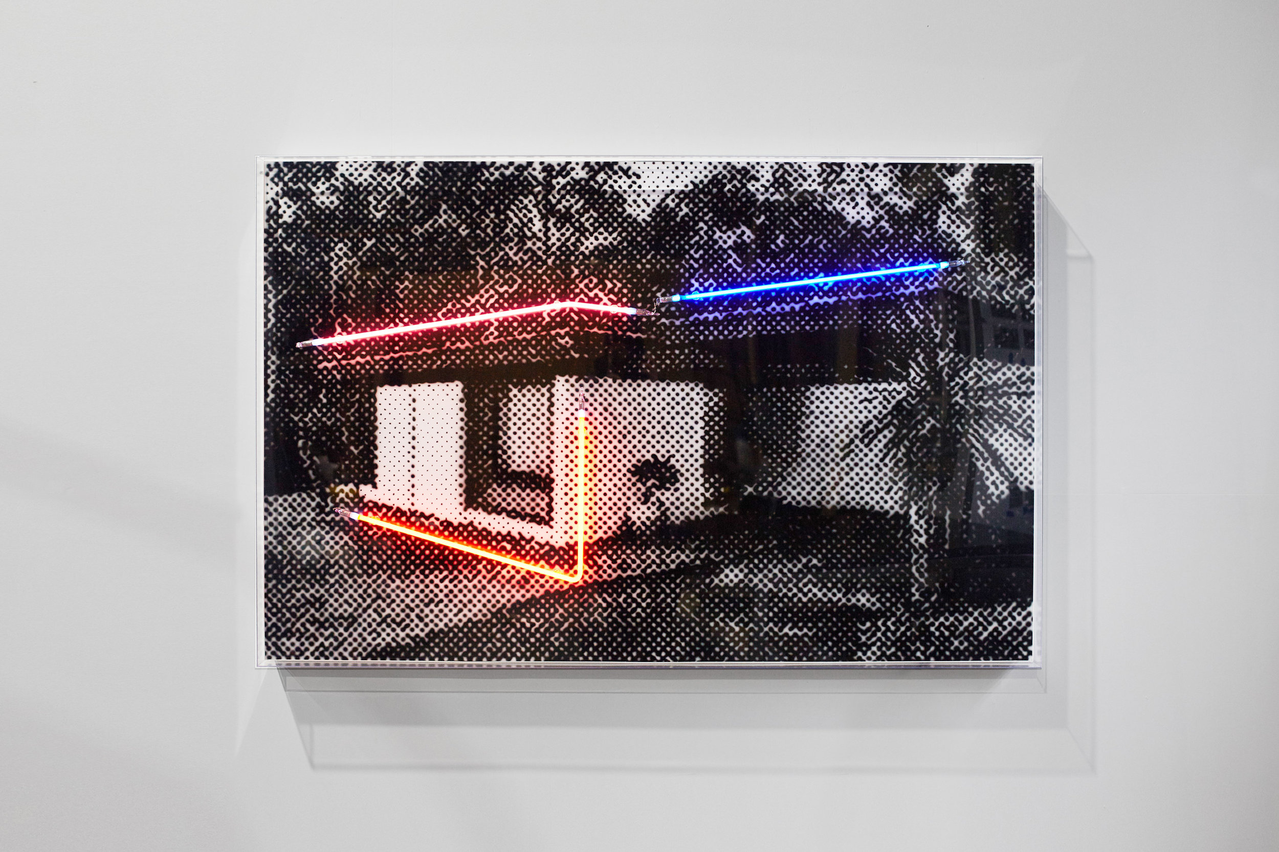 A quiet cul-de-sac  Airbrush acrylic polymer and neon on dibond, acrylic frame 110x170cm