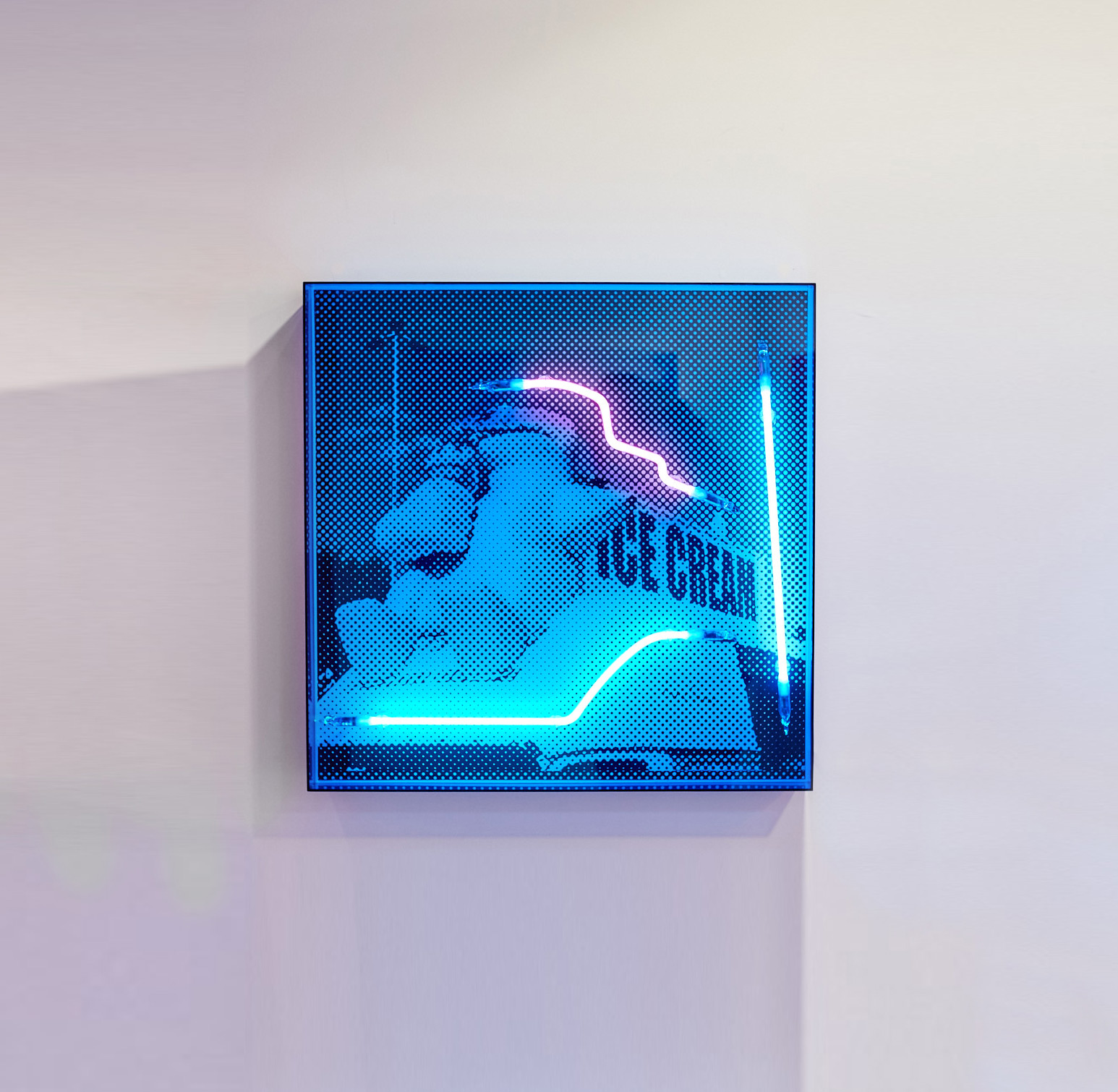 Polar cones (edition of 8)  Silk screen and neon on dibond, blue acrylic frame 60x60cm
