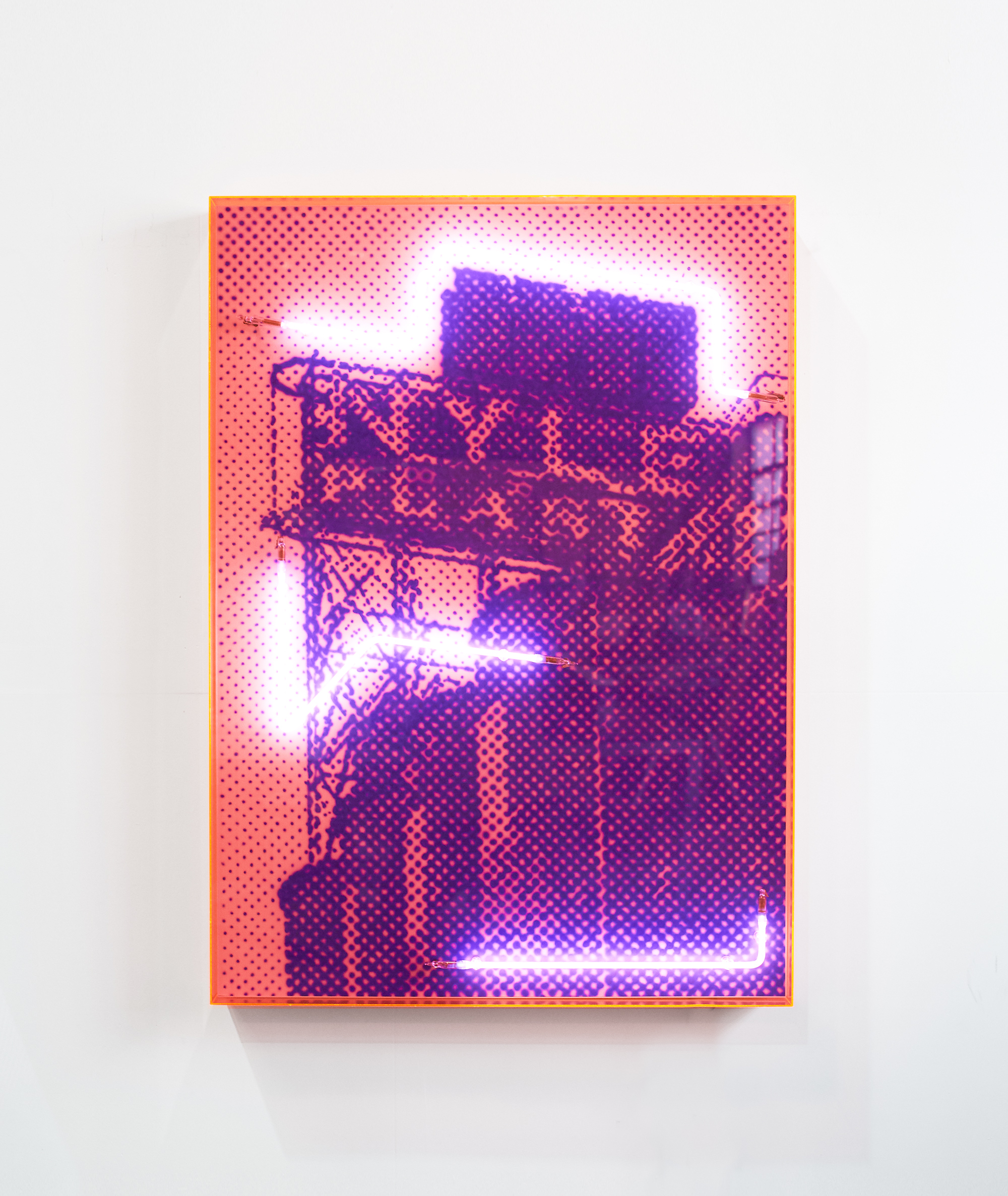An industrial past with heritage architecture  Airbrush acrylic polymer and neon on dibond, pink acrylic frame 90x125cm