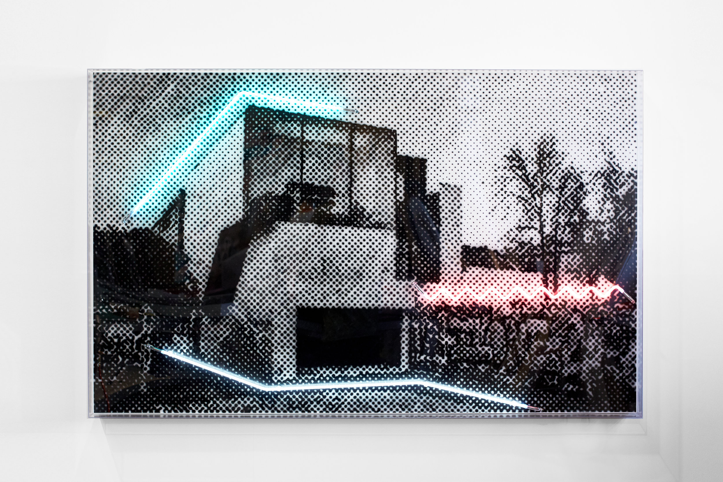 A house in an unforgiving laneway context, 2018  Airbrush acrylic polymer and neon on dibond, acrylic frame 125x200cm