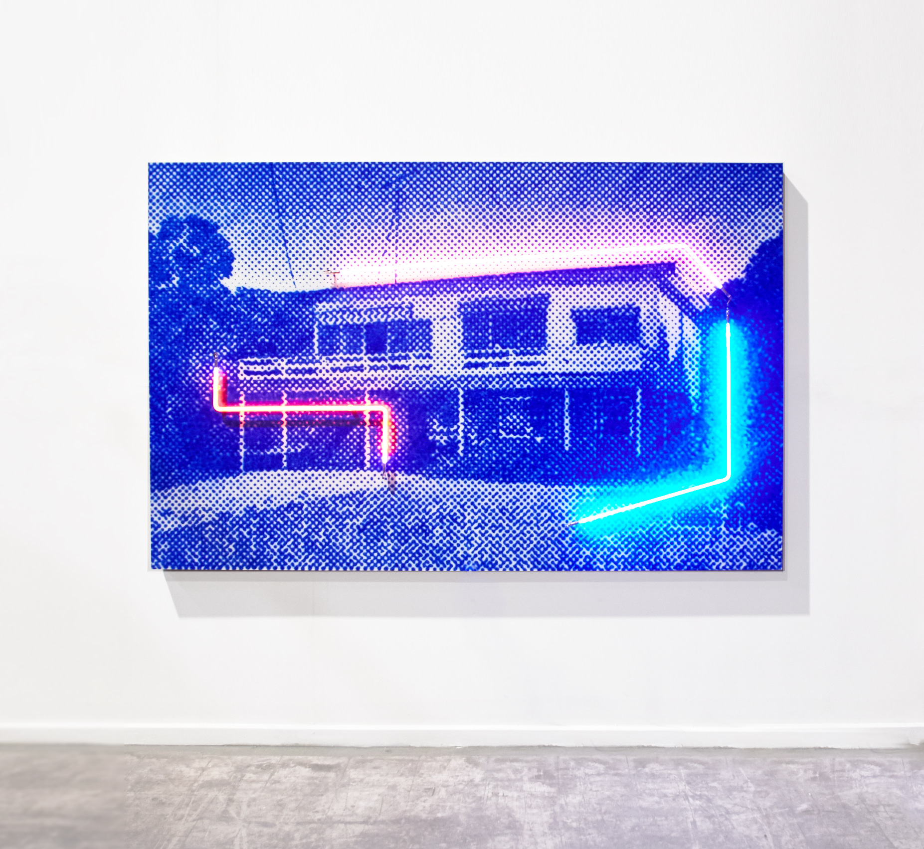 Eighth Ave, 2018 (Private commission)  Airbrush acrylic polymer and neon on dibond, acrylic frame 120x220cm