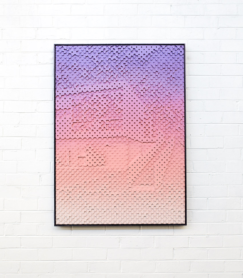 Untitled CNC, 2019  Acrylic on CNC high density foam board, aluminium powder coat frame 90x120cm