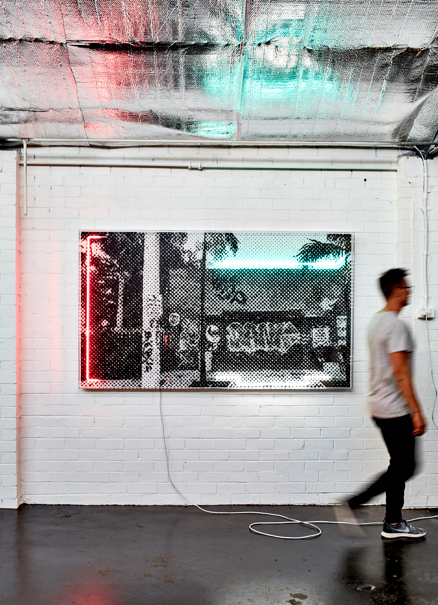 Wynwood Walls, 2019  Airbrush polymer and neon on Dibond, Acrylic frame 120x200cm