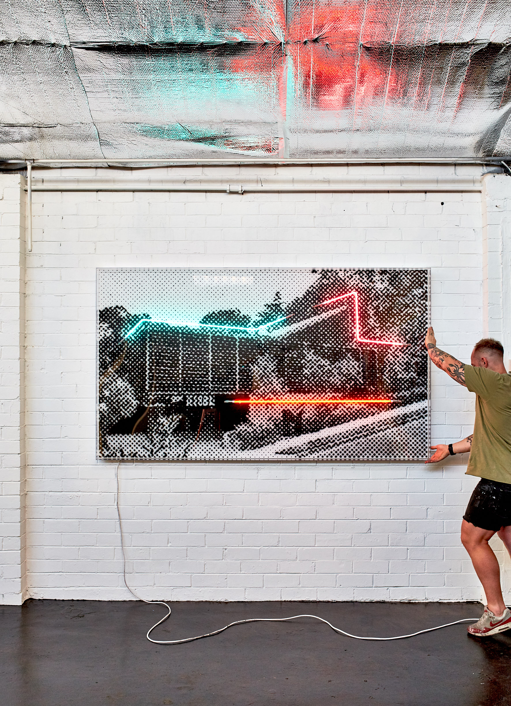 Yarra St House, 2019  Airbrush polymer and neon on Dibond, Acrylic frame 120x200cm