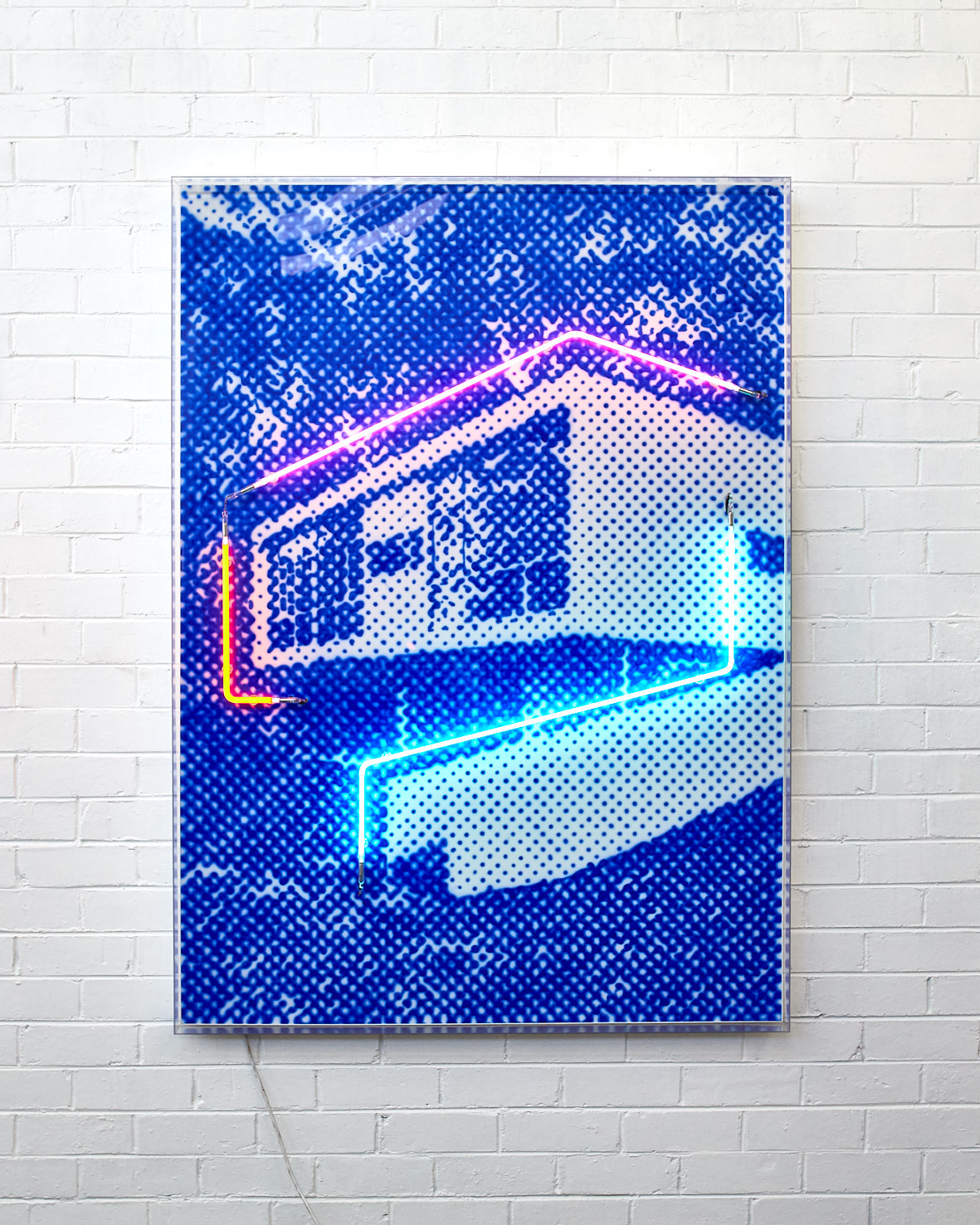 Bushland Rose, 2019  Airbrush polymer and neon on Dibond, Acrylic frame 105x160cm