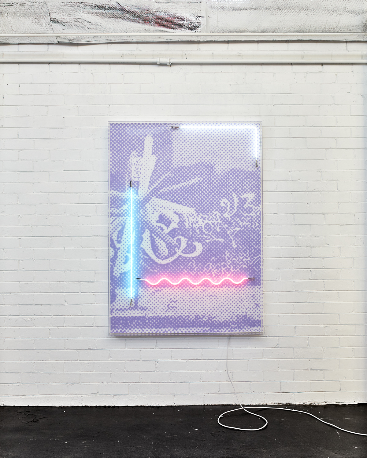 Street Party  Airbrush acrylic polymer and neon on dibond, acrylic frame 115x160cm