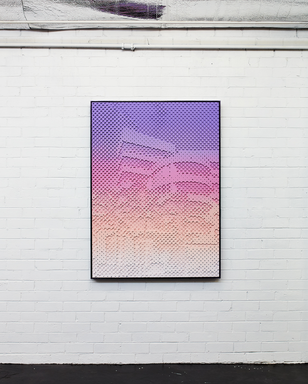 Flamingo Towers  Acrylic on HDP CNC Foam, Glitter Powder Coat Aluminium Frame 105x145cm