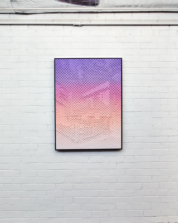 Hibiscus Island  Acrylic on HDP CNC Foam, Glitter Powder Coat Aluminium Frame 90x120cm