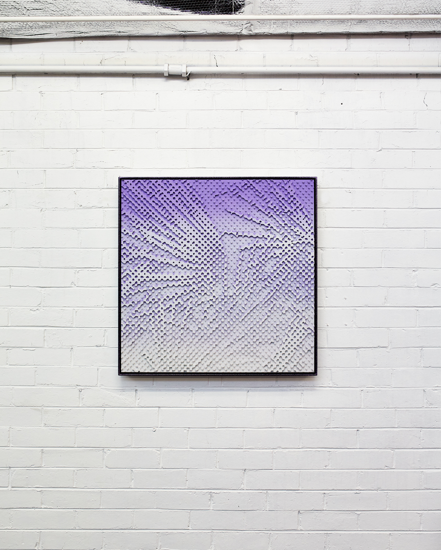 Fronds #1  Acrylic on HDP CNC Foam, Glitter Powder Coat Aluminium Frame 80x80cm