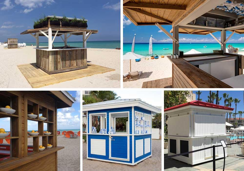 Huts - Our huts are designed for both beach and pool deck. The interior layouts are designed and customized for any services you are looking to provide. We offer turnkey solar and WiFi installations to provide WiFi coverage and power to run POS systems, fans, lighting, refrigerator and charging station for mobile phones.