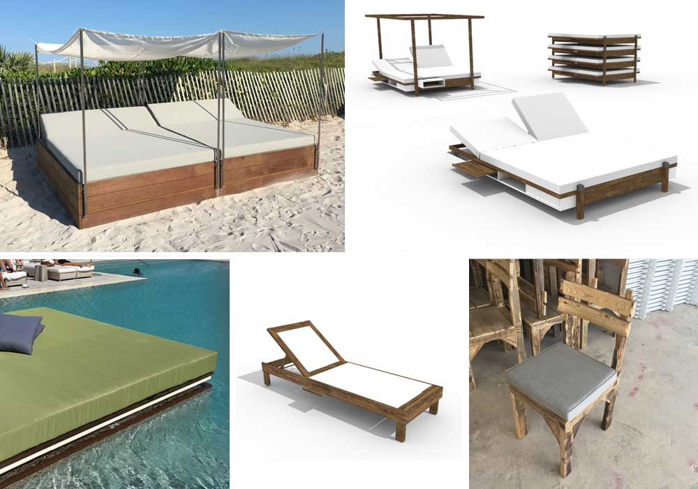 Furniture - Our custom designed furniture are built to order. Materials are carefully selected to withstand the harsh beach & ocean climate. Check out our online furniture selection to get inspired. We design and build custom furniture to serve your needs.