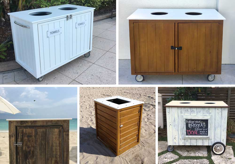 Towel Bins - Our high quality custom bins are designed and built to order. We use only stainless steel hardware, marine grade starboard® tops and a wide range of the most durable materials and finishes available.